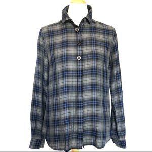NWOT Loft embellished check blouse XS